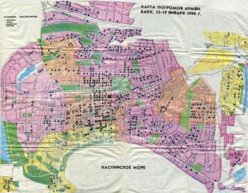 карта погромов армян в Баку
