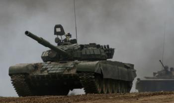 Танк Т-72Б Армии обороны Арцаха на марше