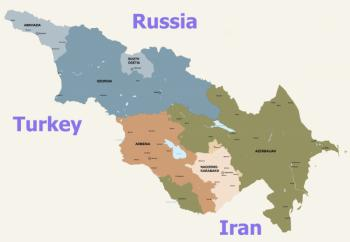 карта Закавказья и соседи