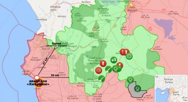 карта обстрела авиабазы Хмейм