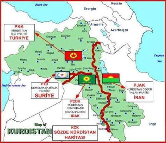 Карта планируемого нового государства Курдистан