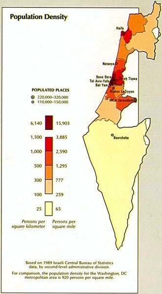 население Израиля плотность