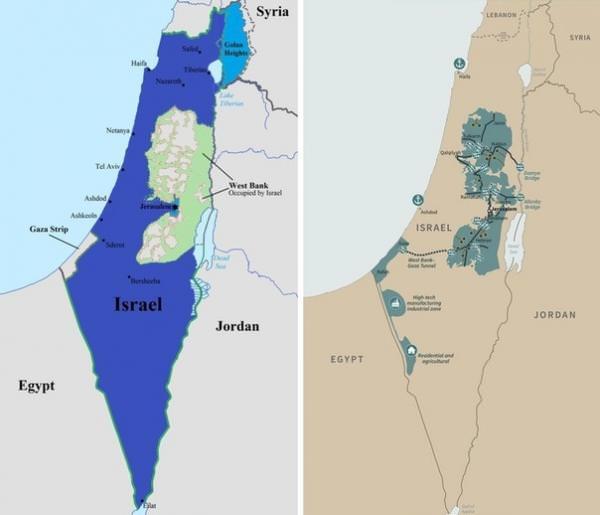 Подземный туннель между палестинскими территориями на карте Трампа справа отмечен прерывистой линией