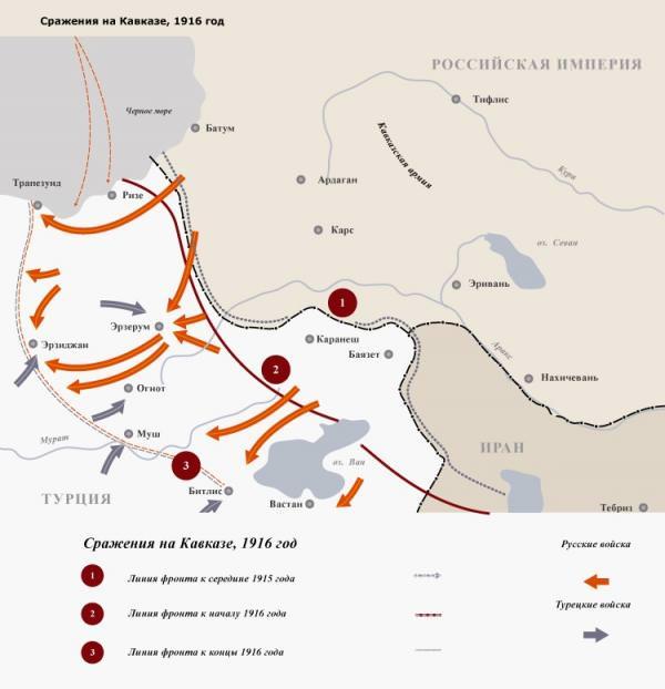 русско-турецкая война 1915-16 карта