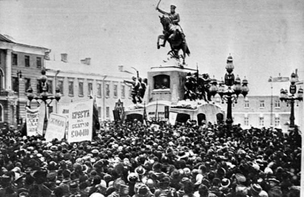 январь 1915 митинг у памятника герою Русско-турецкой войны 1877-1878 годов генералу Михаилу Скобелеву