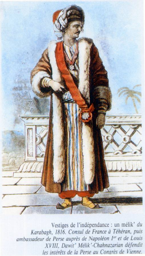 Давид Цатур Мелик-Шахназар де Шапур - посол Персии во Франции при Наполеоне и Людовике XVIII представлял интересы Персии на Венском Конгрессе
