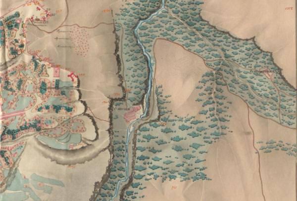 Фрагмент Генпалана шуши и окрестностей с нанесенными на него селами Шуши (Унот) и Шушакенд (Шошо)