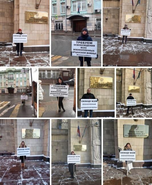 пикет в Москве с требованием освобождения пленных армян