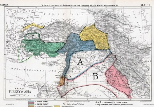 Соглашение Сайкса-Писо (Sykes-Picot) Оригинал карты