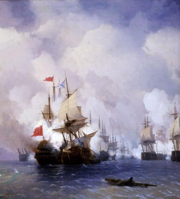 Иван Айвазовский - Картина «Бой в Хиосском проливе 24 июня 1770 года» 1848
