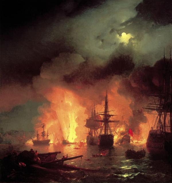 Иван Айвазовский - Картина «Чесменский бой» 1848